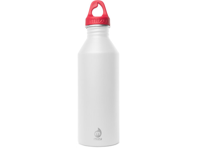 MIZU M8 Bottle with Red Loop Cap 800ml surf monkey white